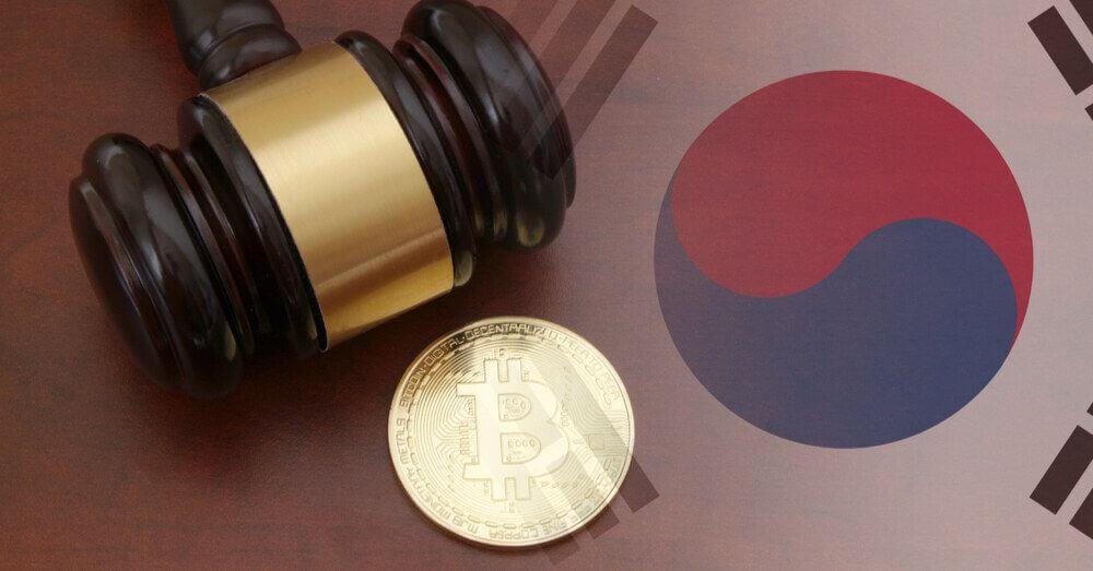 Bitcoin auf südkoreanischer Flagge