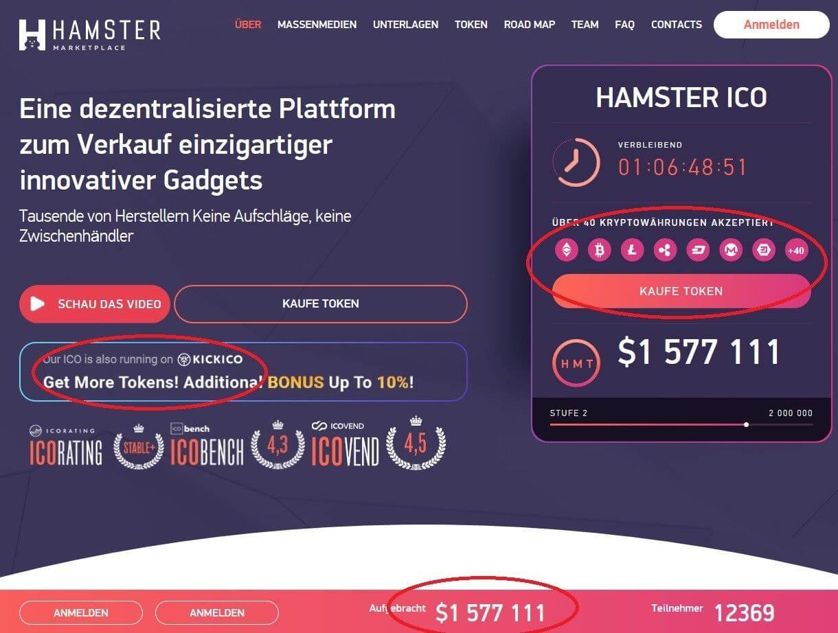 Die Hamster Marketplace Homepage mit Informationen zum ICO
