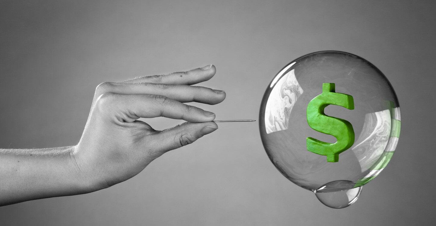 Konzeptbild einer Blase, die zu platzen droht