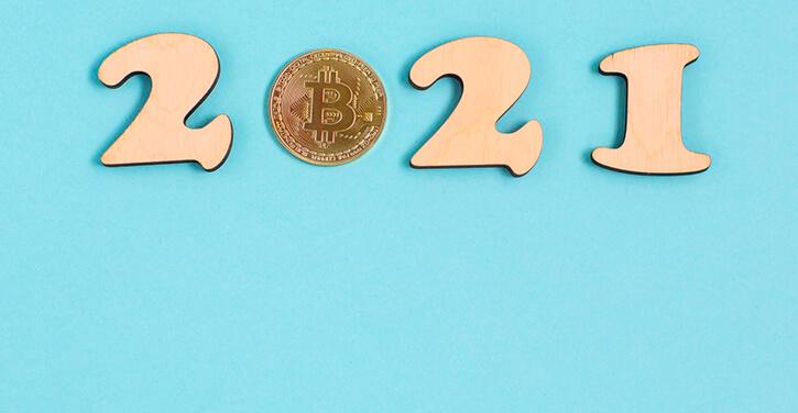 Konzeptbild für Bitcoin im Jahr 2021